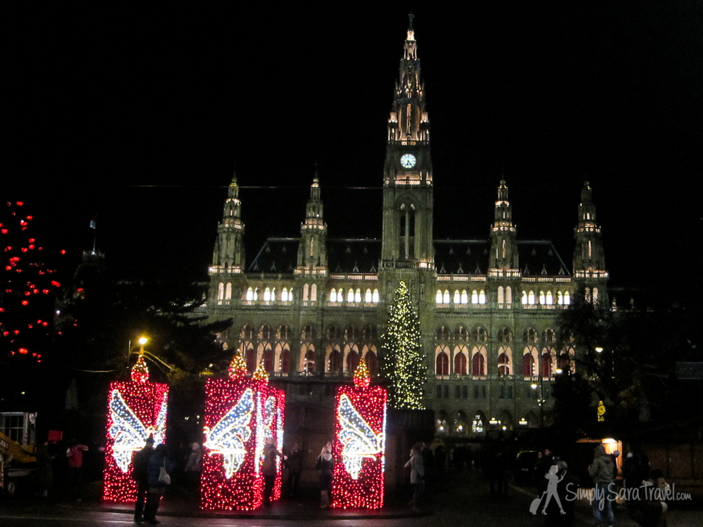 A market in front of the Rathaus (town hall) in Vienna
