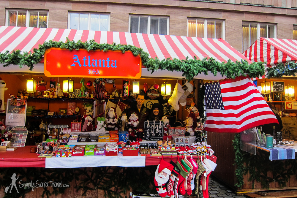 Some of the cities had an international market among the Christmas markets with products from countries all over the world. We found a USA stand in Nürnberg that sold Obama T-shirts, Harley Davidson items, and Skittles, among other things. The shopkeepers let us stand behind the counter for a picture!