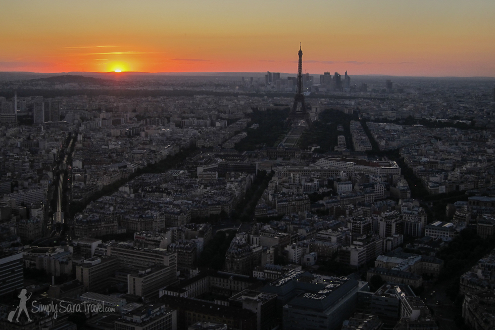 View from Tour Montparnasse while eating dinner at  Ciel de Paris