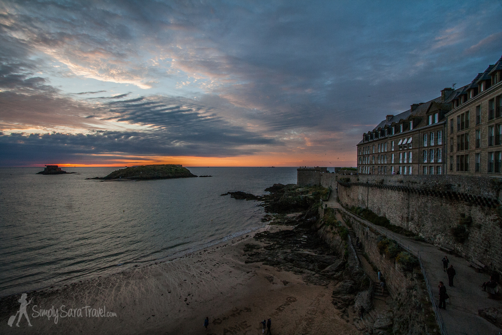 Sunset at the walled-in town of  St. Malo  (July 2013)