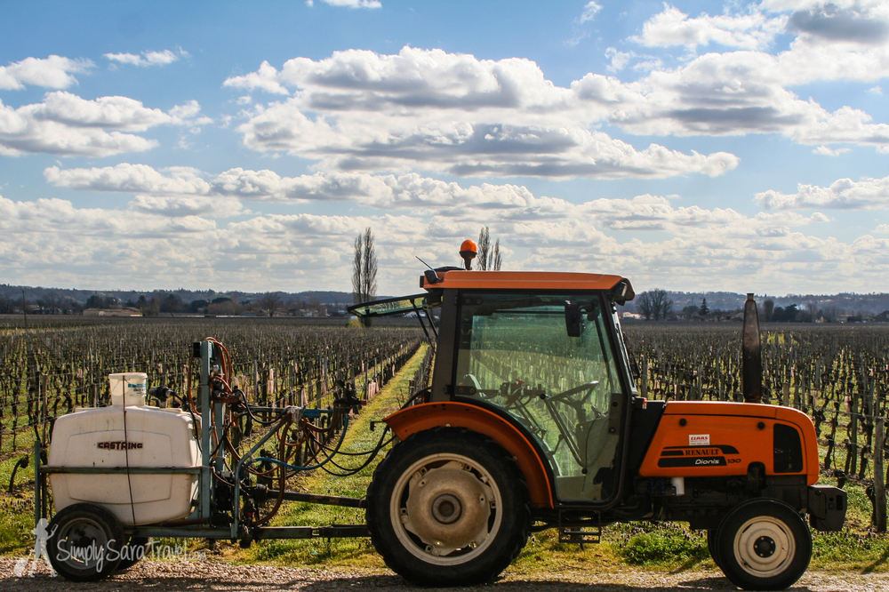 Tractor at Chateau Beaurang, St Emilion, France