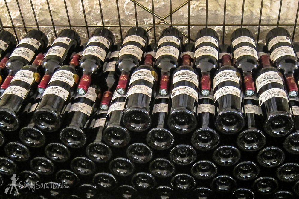 Bottles of red wine at Chateau Beaurang, St Emilion, France