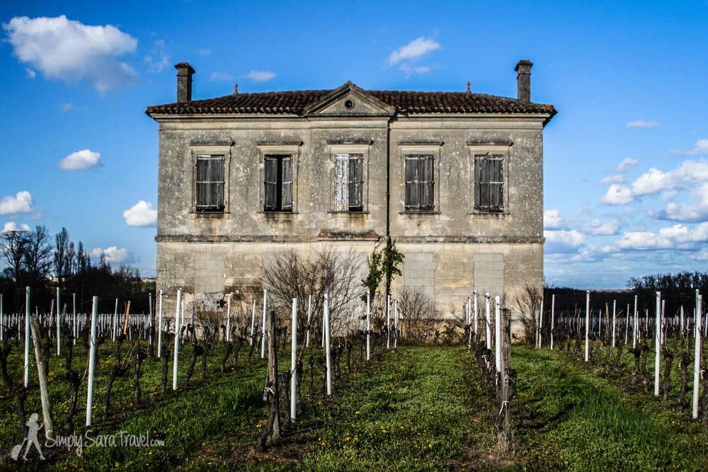 Building on the grounds of Chateau Champion with vineyards, St. Emilion, France