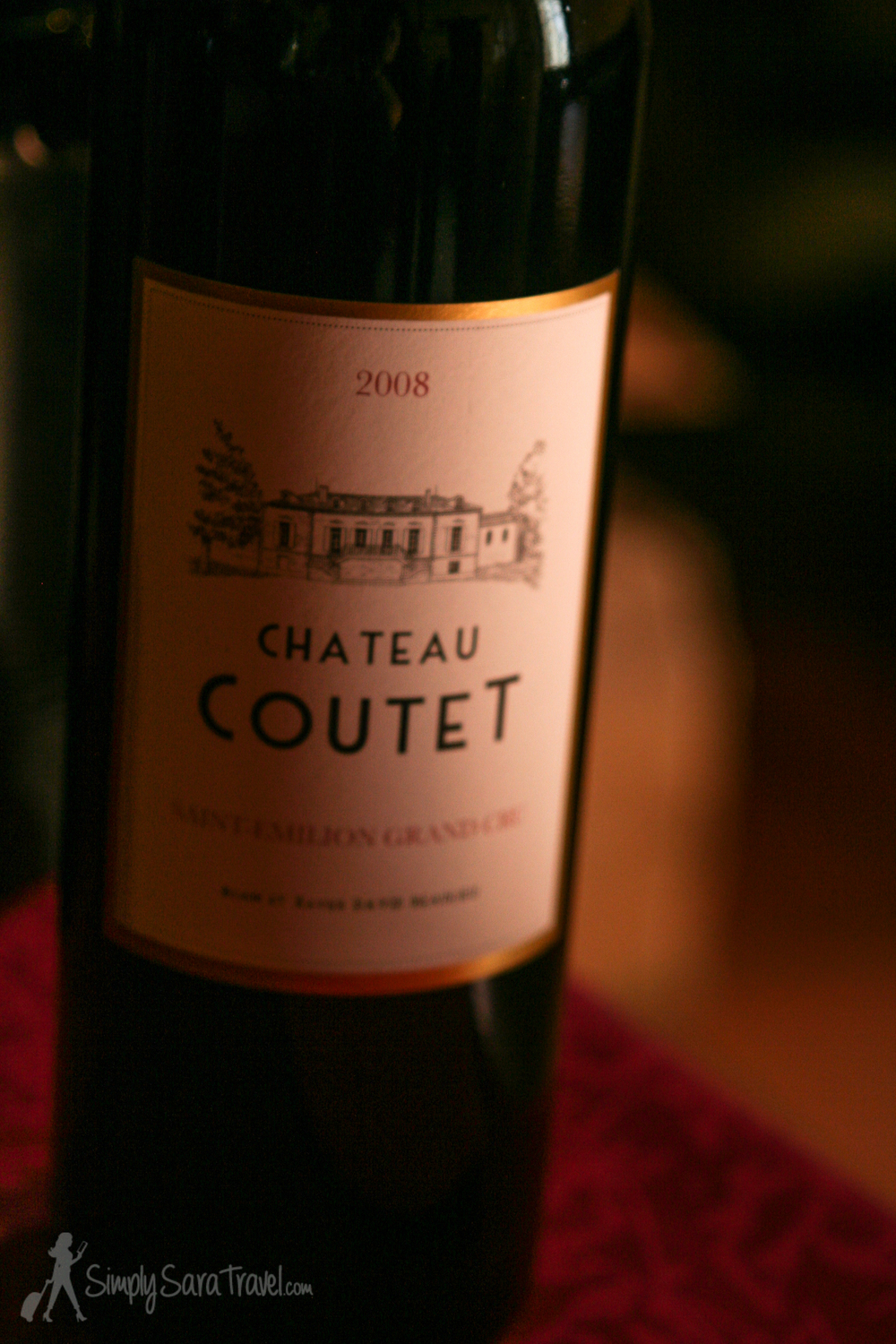 Bottle of 2008 Saint-Emilion Grand Cru red wine from Chateau Coutet, France