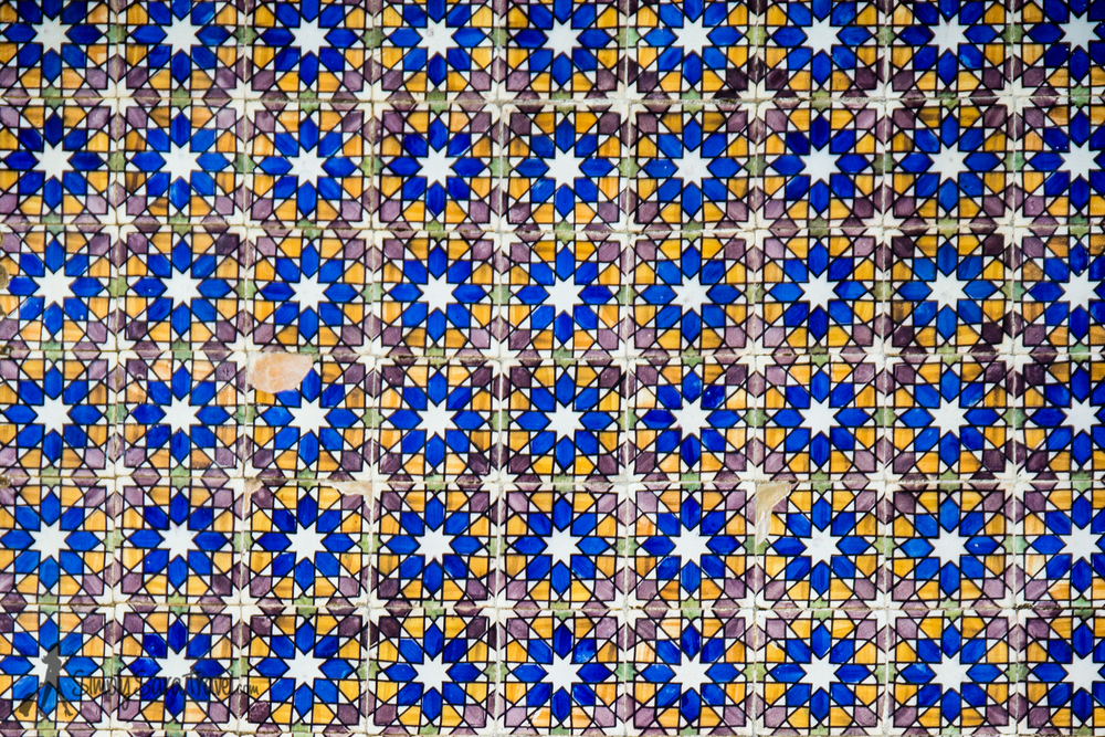 Some of the beautiful tile work on the outside of the palace in a Moorish pattern