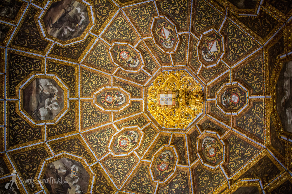 The stunning ceiling of the Stag room, the most impressive room of the palace
