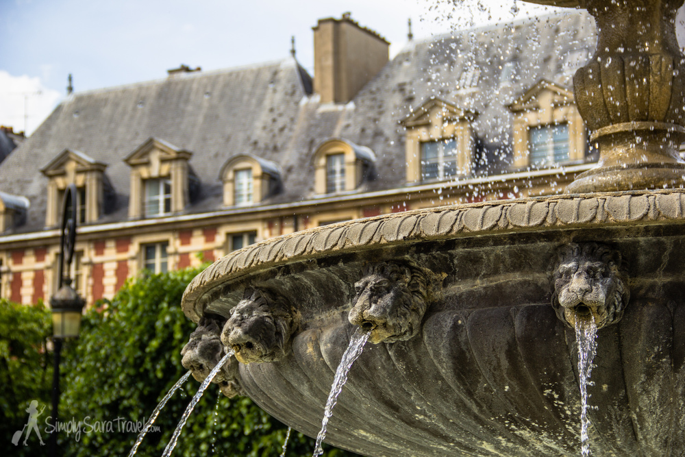 Place des Vosges in the Marais, the oldest planned square in Paris.