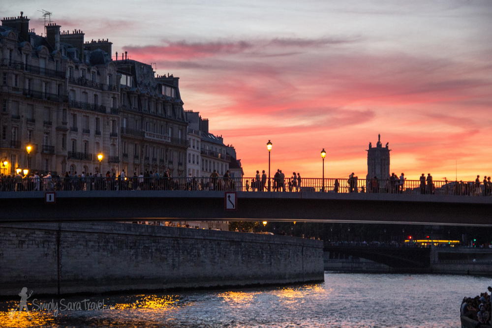 Paris Sunset with Pont Saint-Louis and Tour Saint-Jacques