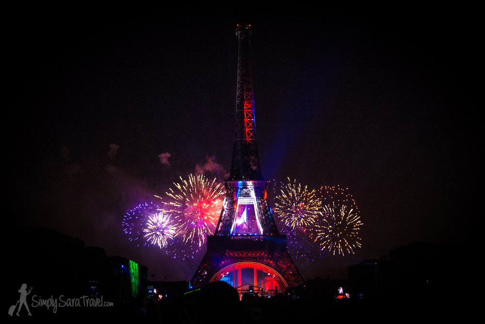 View of the Bastille Day fireworks from the Champs de Mars, 2013
