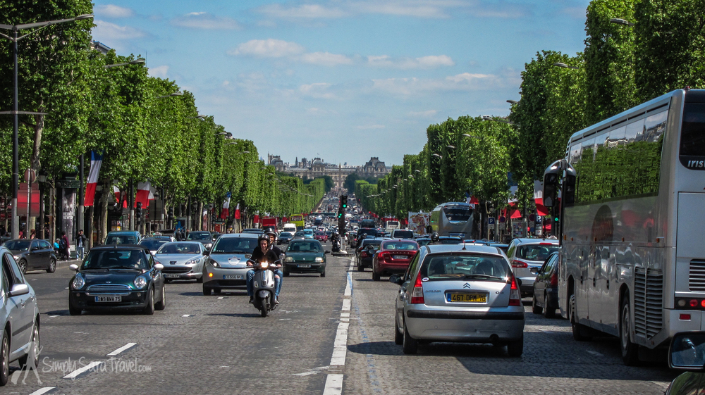 Champs-Elysees with French flags