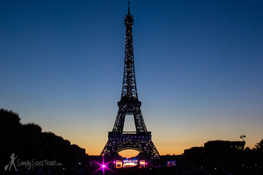 Sunset at the Eiffel Tower on Bastille Day