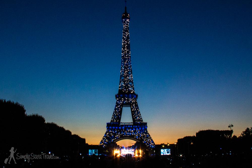 Sparkly Blue Eiffel Tower, Bastille Day 2014