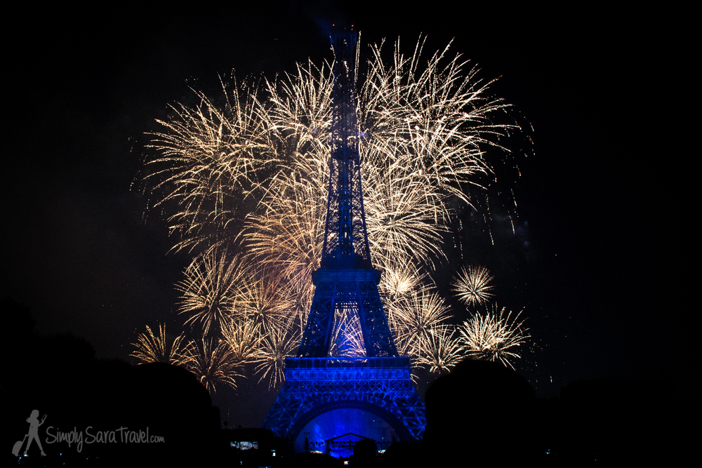 Bastille Day 2014 blue Eiffel Tower with Fireworks
