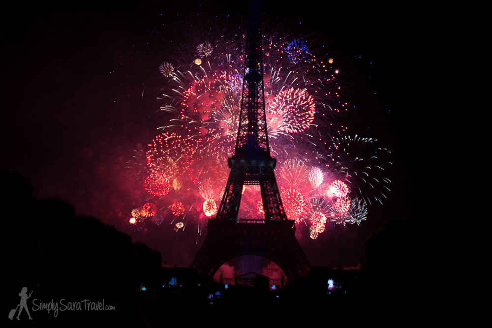 Bastille Day 2014 Eiffel Tower with red and pink fireworks