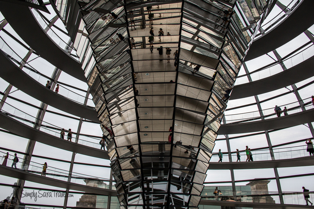 Looking up the glass dome of Berlin's Reichstag