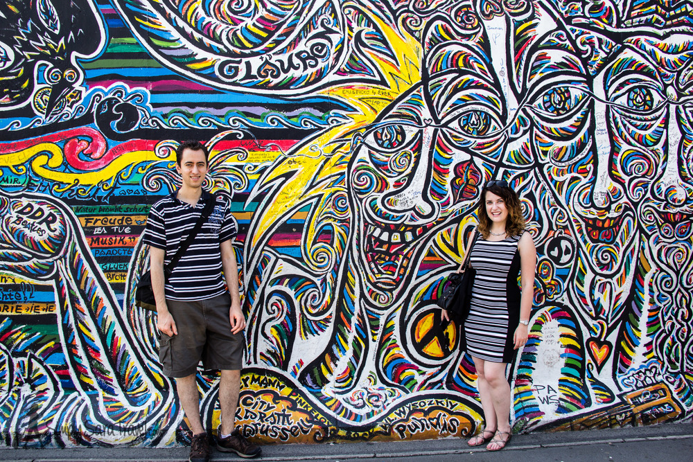 Michael and I at the East Side Gallery, blending in with our (not coordinated on purpose) stripes