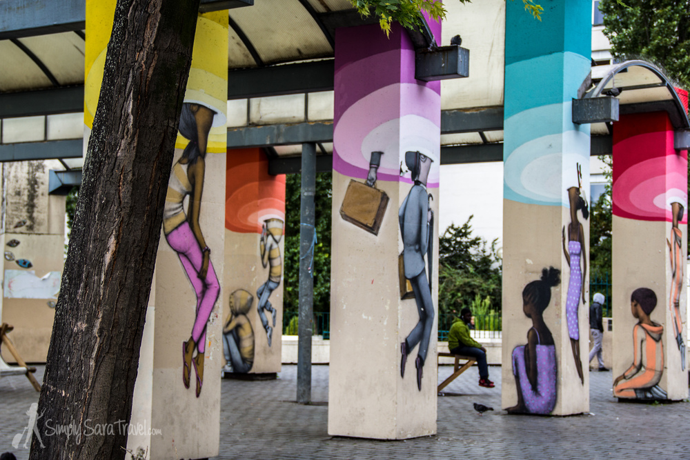 Street art at Parc de Belleville's viewing platform