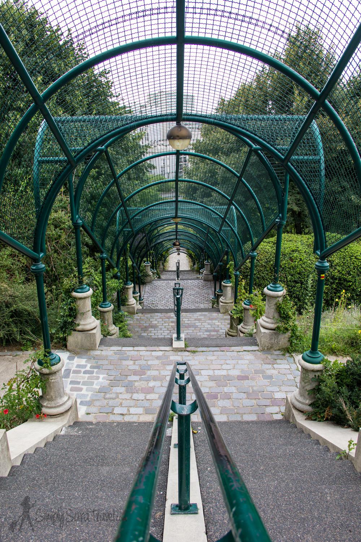 Stairs down at Parc de Belleville, Paris