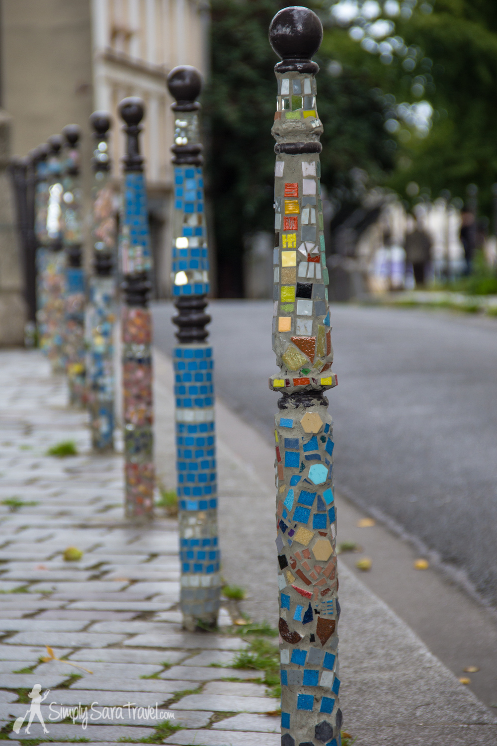 Colorful poles along the street by the viewing platform