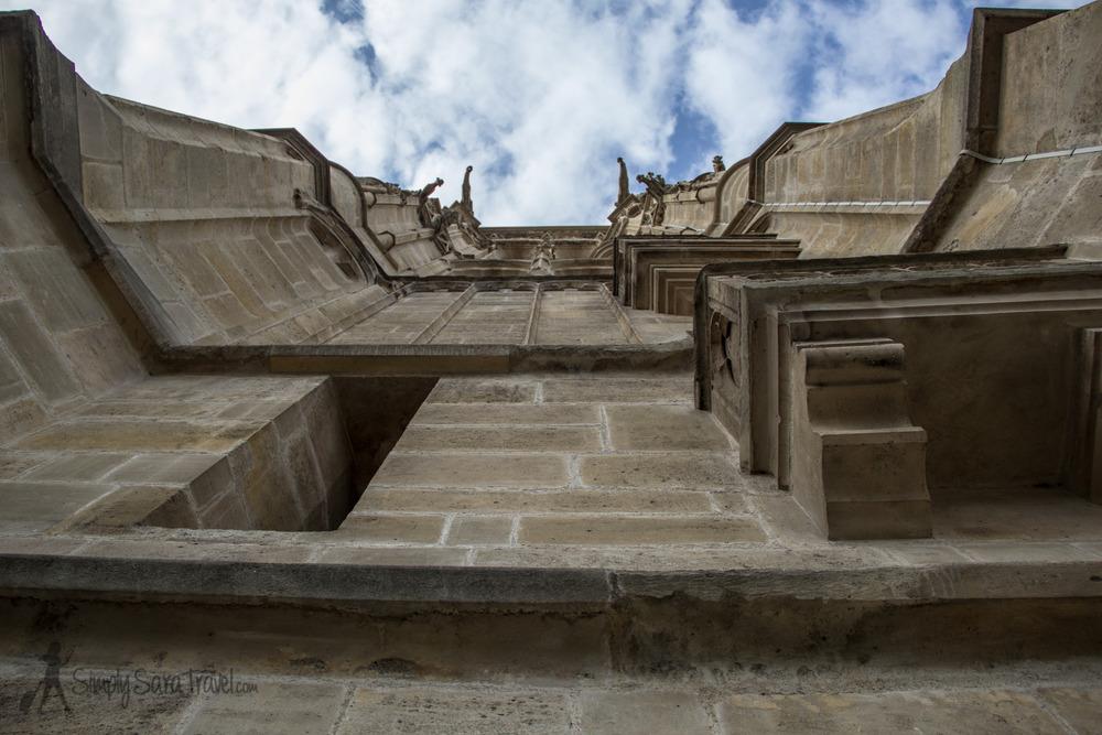 Looking up at Tour Saint-Jacques, Paris, France