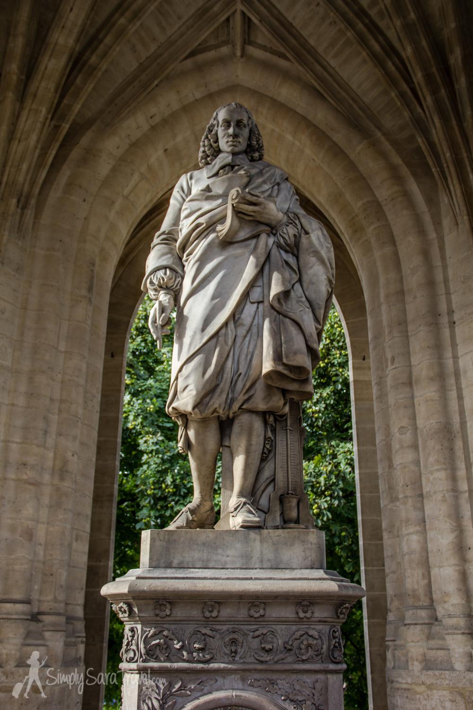 Statue of Blaise Pascal at the base of Tour Saint-Jacques, Paris, France