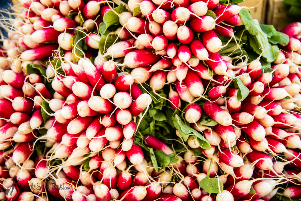 Radishes at Marché aux Légumes at Place Billard