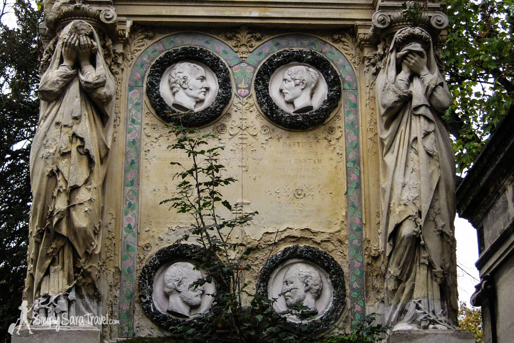 The grave stones and mausoleums in Cimetière du Père-Lachaise are decorated with quite beautiful sculptural work.