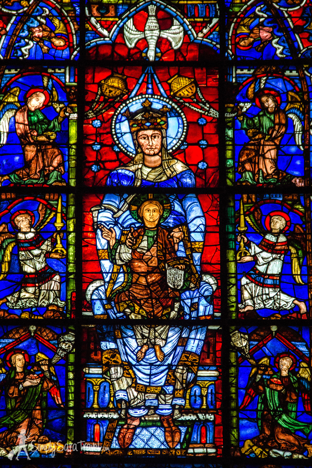The Blue Virgin Window (Notre Dame de la Belle Verrière) is famous. It is another of the oldest windows in the Chartres Cathedral - it also dates back from the mid-12th century. It was the central window behind the alter of the church, and survived the fire. It was salvaged and reinserted into a new frame in the 13th century when the new (present) Cathedral was built.