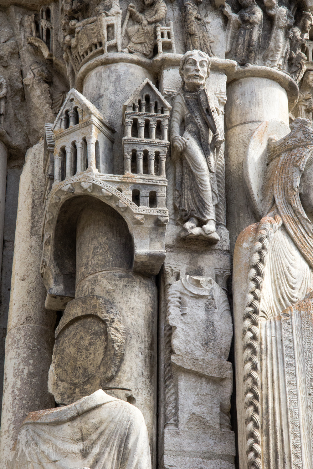 Outside sculptures at Chartres Cathedral, France
