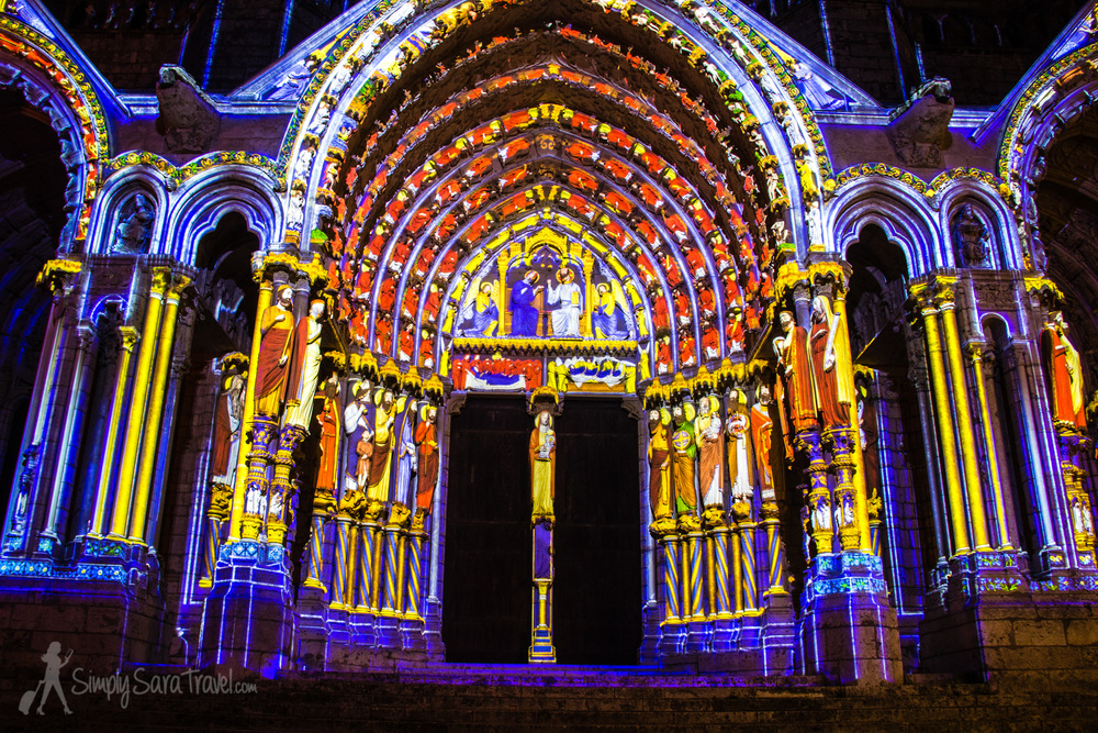 The North Porch, lit up for Chartres en lumières 2014