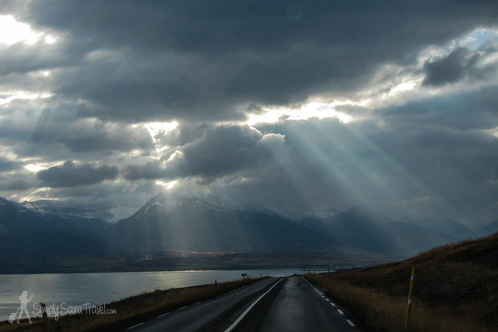 Sun rays peeking through the Icelandic clouds