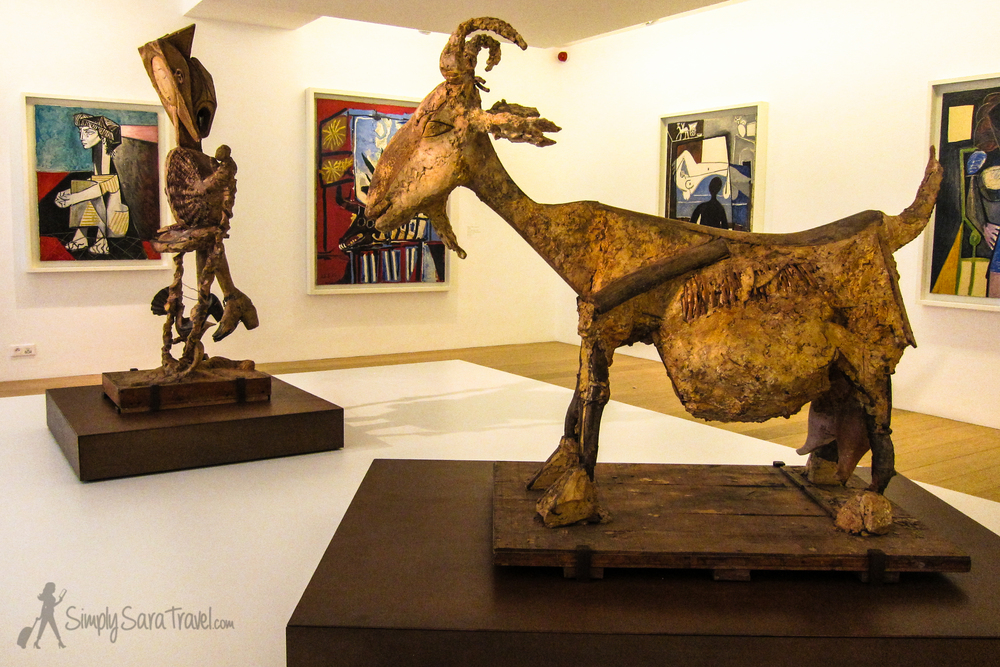 Goat sculpture and paintings at Musée Picasso, Paris, France