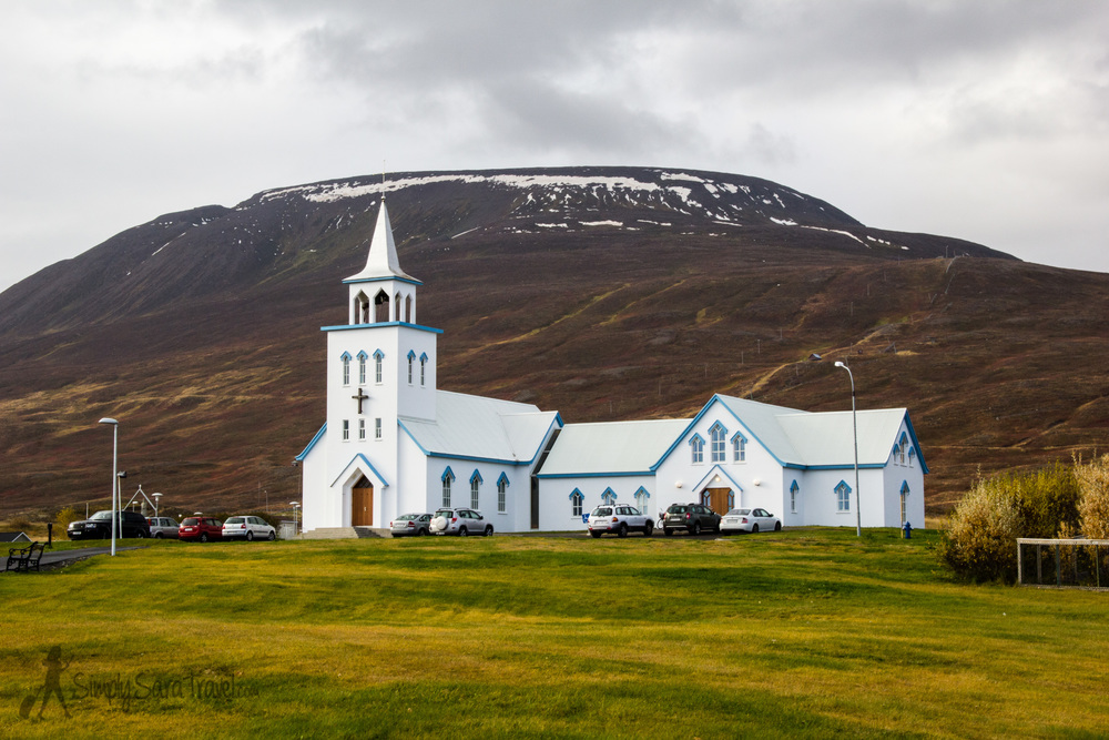 "We dubbed the church in Dalvik as one of Iceland's ""megachurches"" - look at its size compared to the others!"