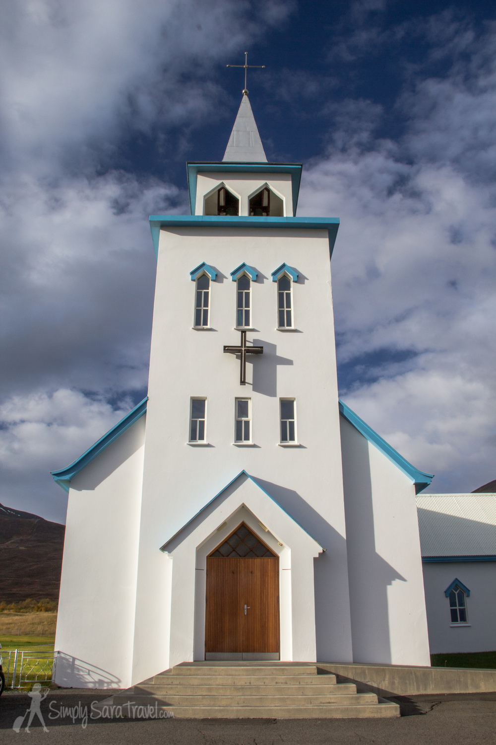 Front of the church in Dalvik, Iceland