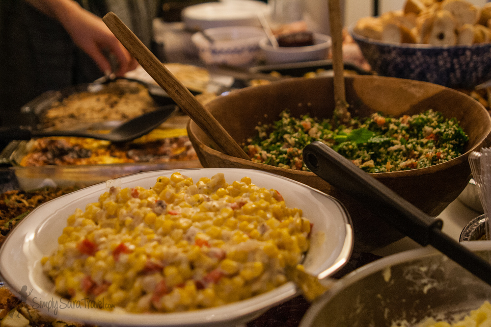 I love the diversity that having a corn dish and tabbouleh side by side brings to the meal!