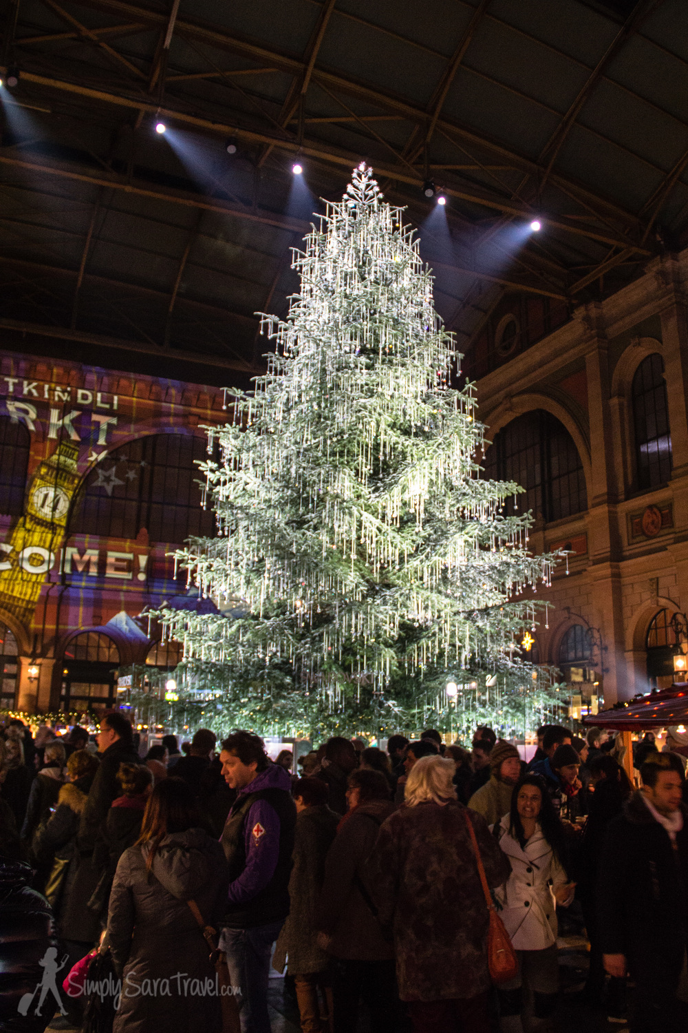 ...to this, a Christmas market in Zurich with a magnificent tree decked out in Swarovski crystal ornaments.