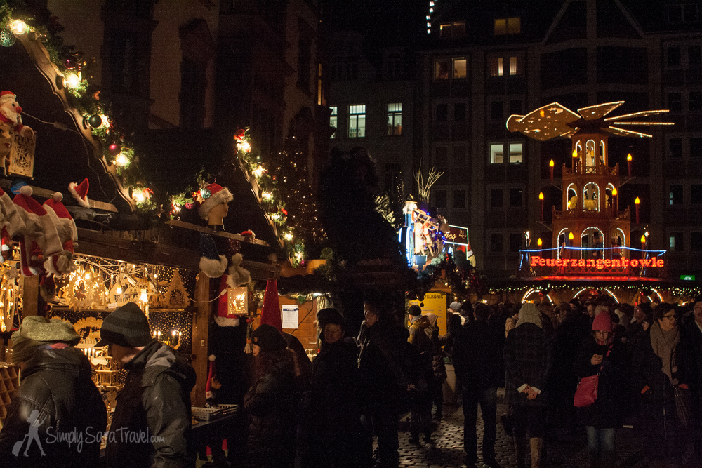 Christmas market stands in Leipzig, Germany at night