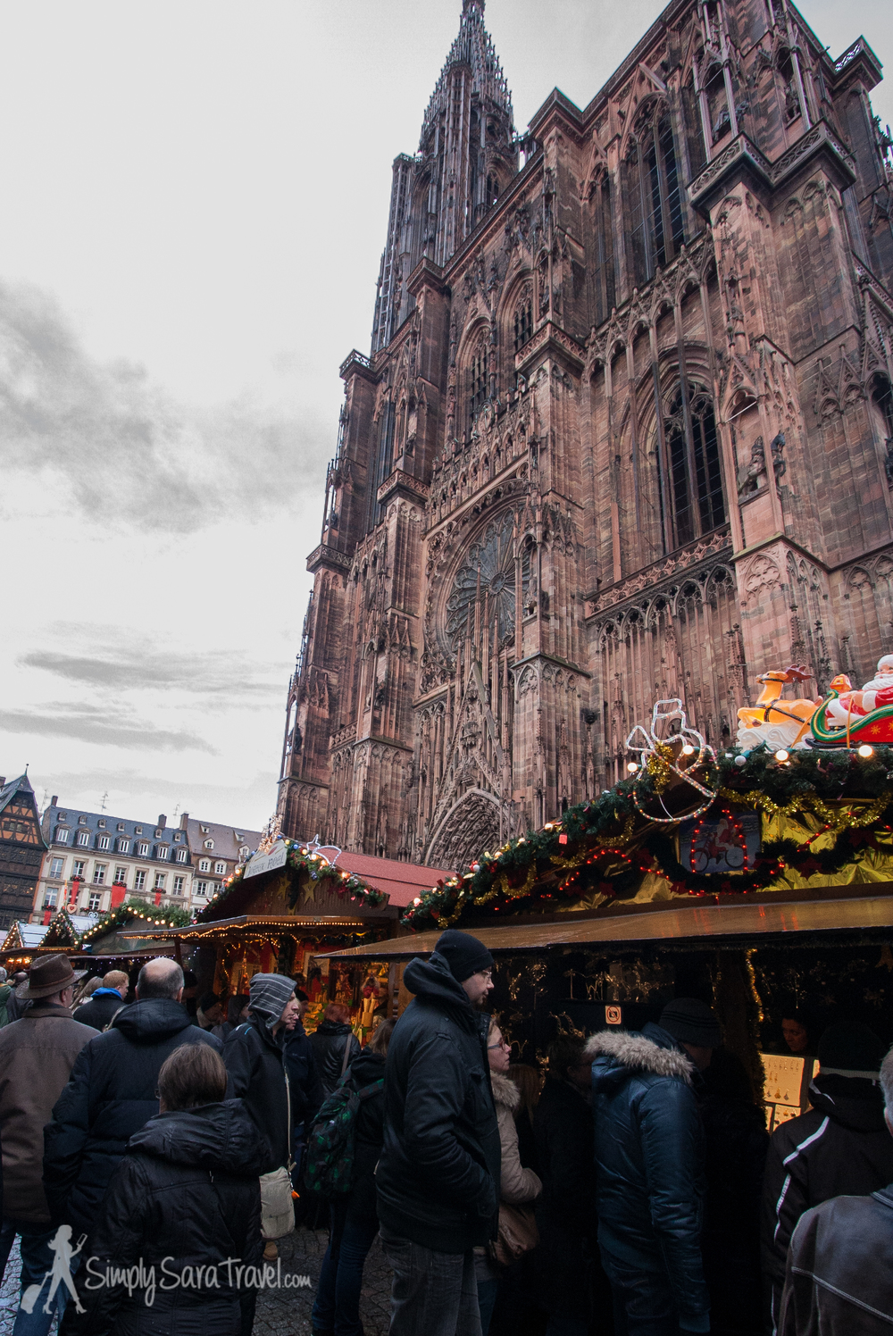 Christmas market by the Cathedral in Strasbourg, France