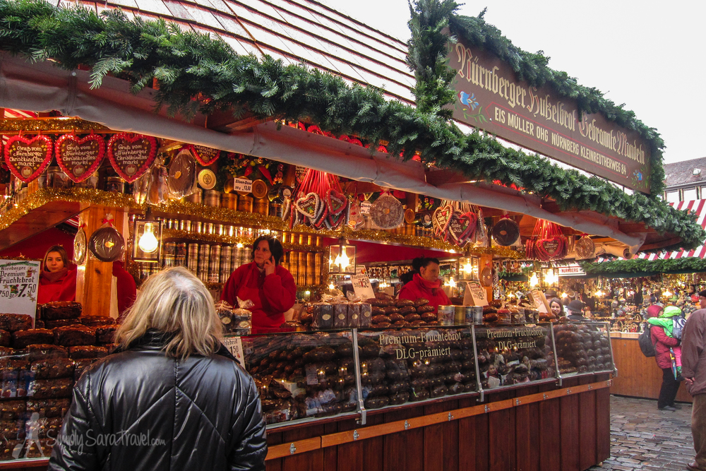 I apparently was too busy eating the cookies to snap a picture of the stand, but here's another treat found in Nuremberg. Unfortunately the Früchtebrot (fruit bread) didn't entice me like the Lebkuchen did.