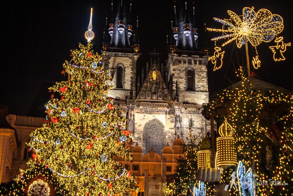 Christmas lights atStaroměstské náměstí, Prague, Czech Republic