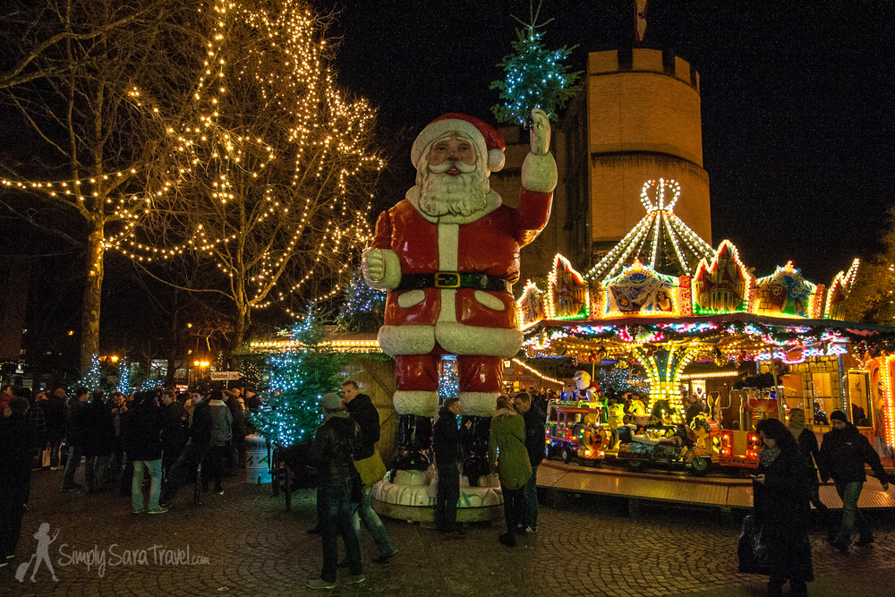 Christmas in Cologne, Germany - this market had a giant Santa!