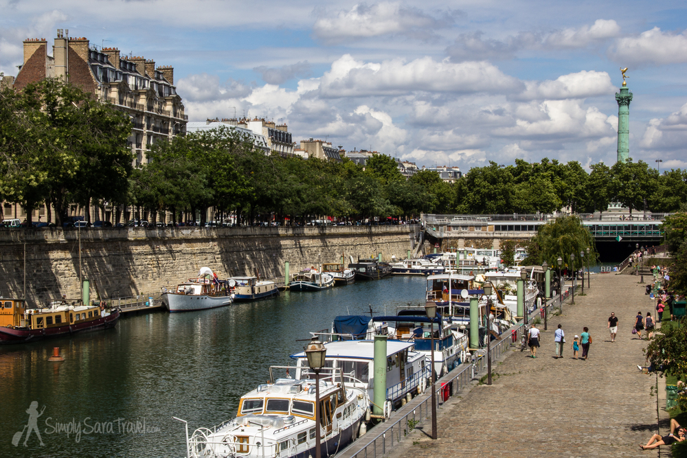 There was a summer day walking past the Port de l'Arsenal (just south of Place de la Bastille).