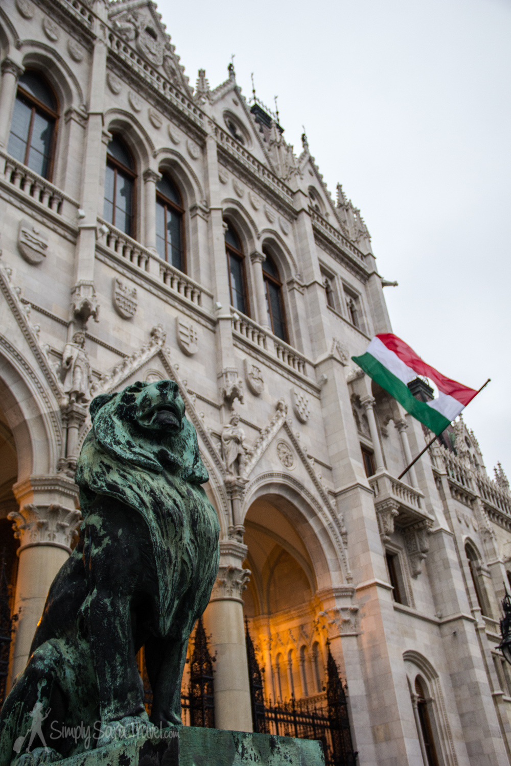 Outside Budapest's Parliament building