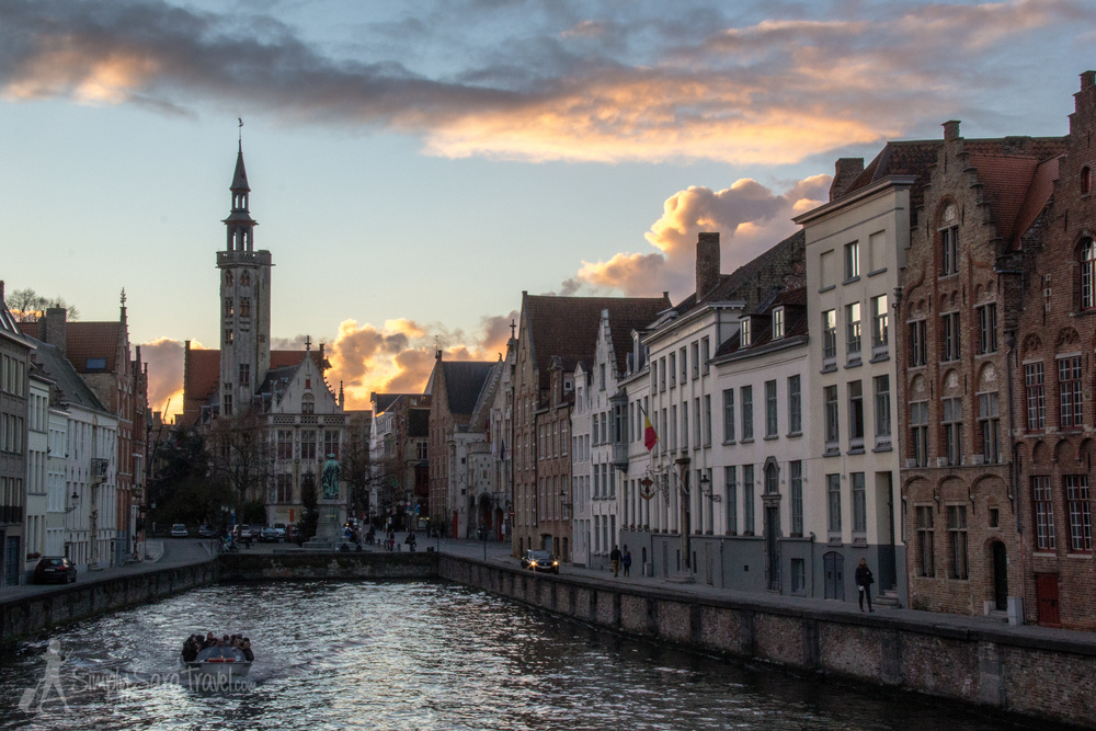 A perfect end to the day - sunset over the canal in Bruges
