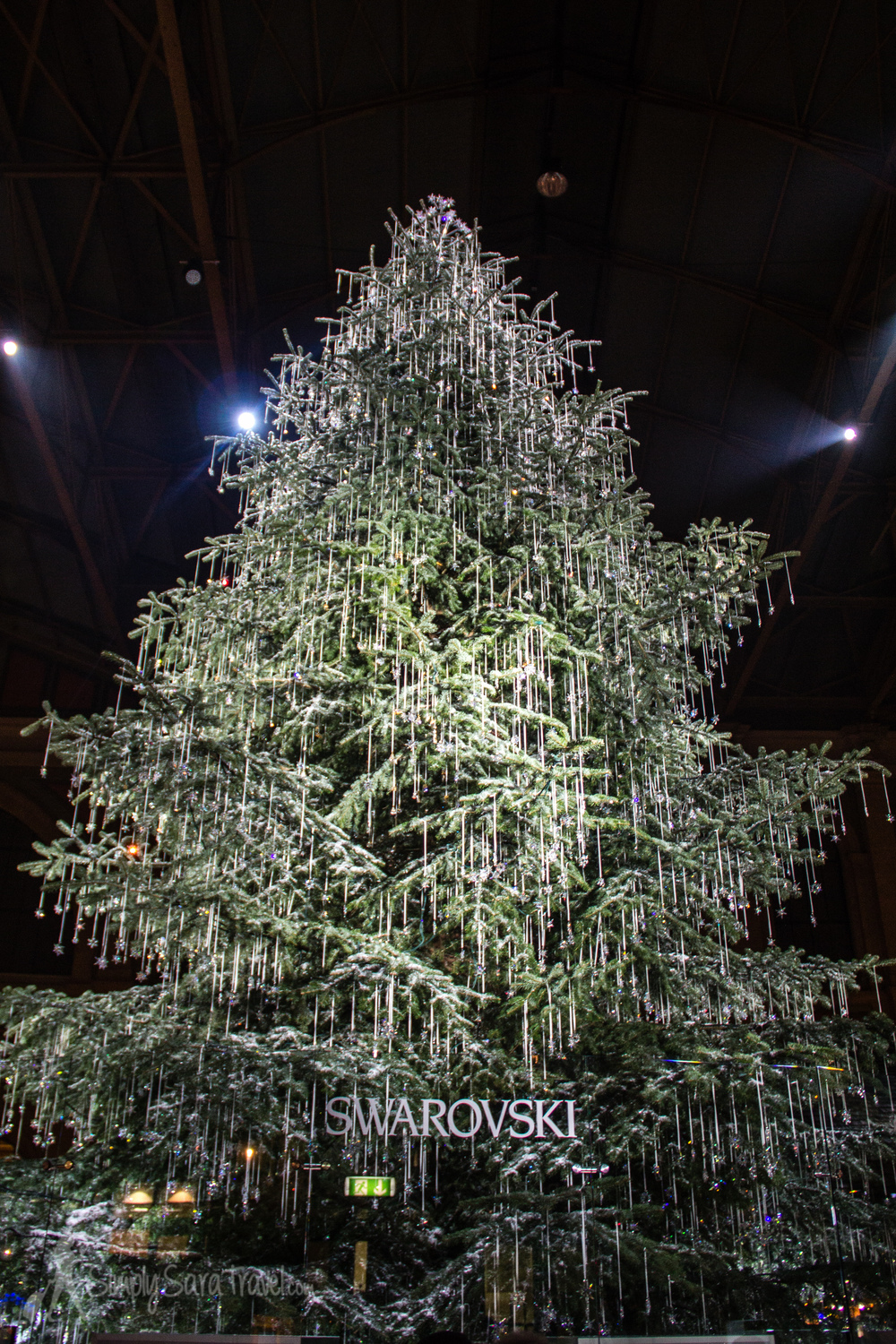 The most bling I've seen on a Christmas tree - Zurich's Swarovski-studded tree in the Hauptbahnhof