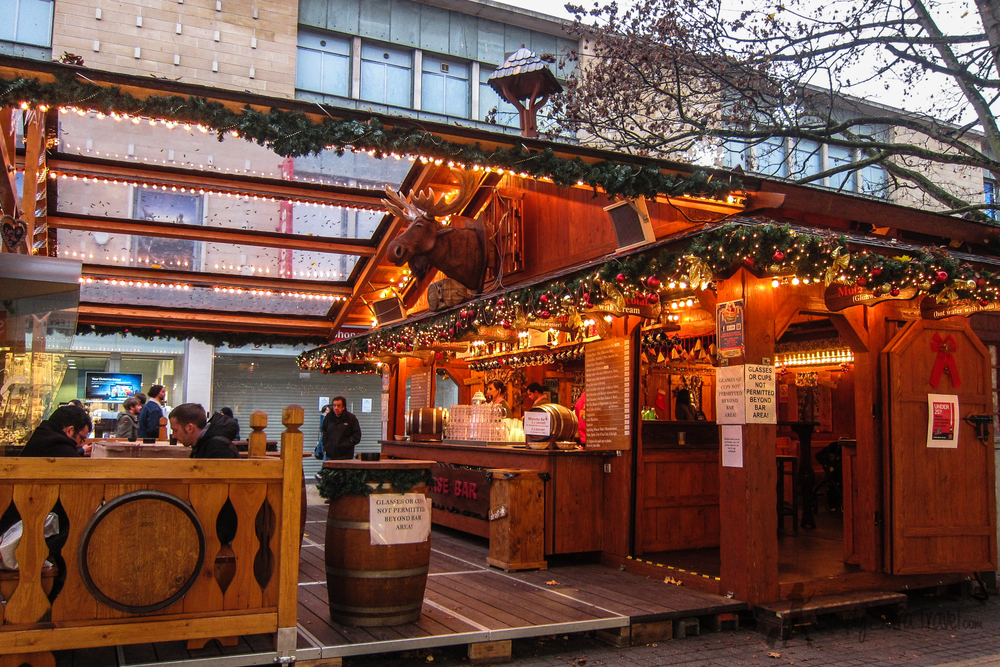 Granted this was taken in the day time on a weekday when Christmas markets are at a low, but locals didn't seem to flock to the market at night for a drink after work like they do in Germany. Perhaps the early closing time of 7pm had something to do with that. But in other news, that moose head above the bar moves and sings!