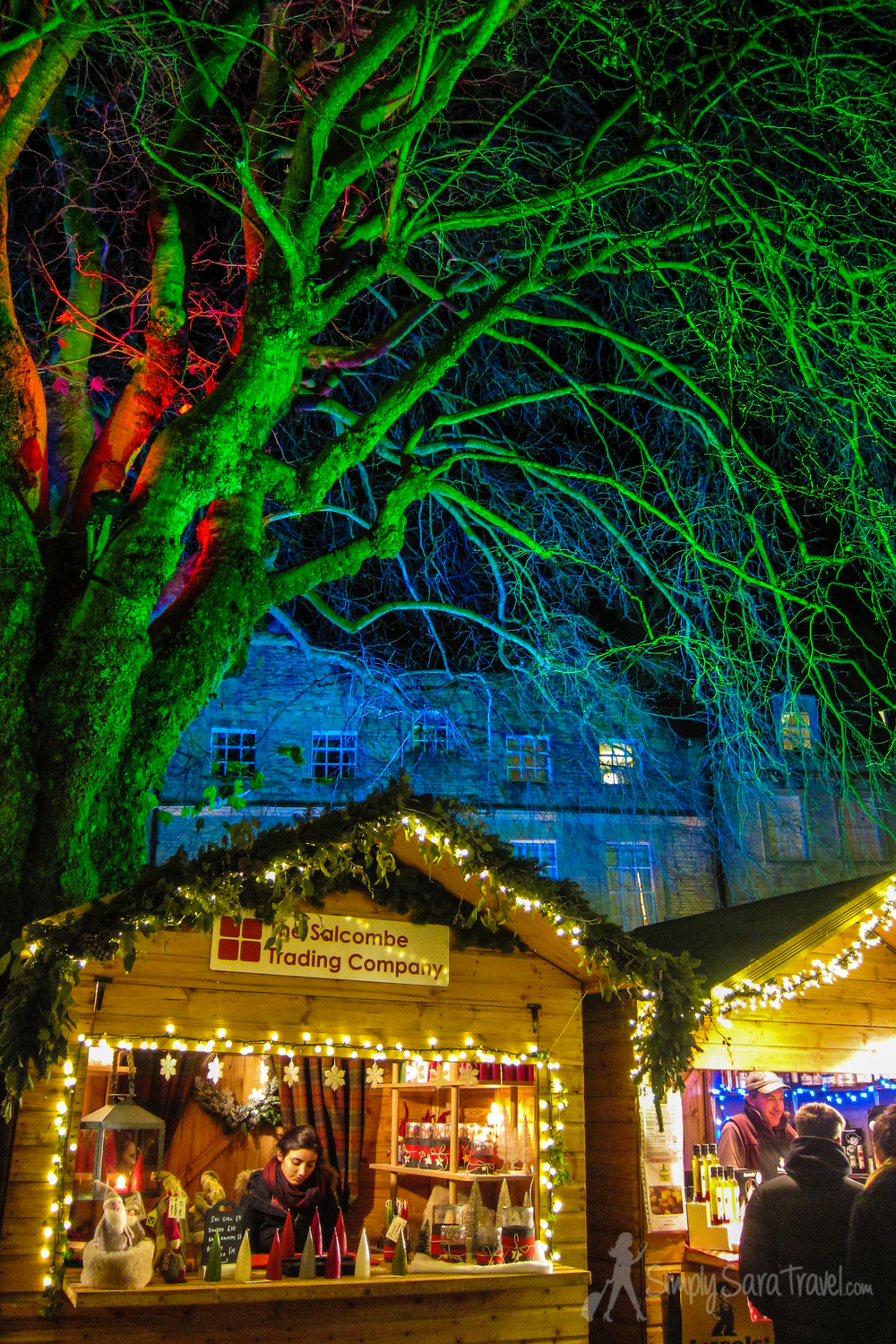 Stands at the Christmas market in Bath, England