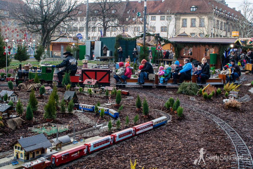 All aboard at Stuttgart's miniature train ride!