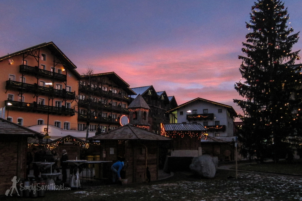 Sunset at Seefeld's Christmas market