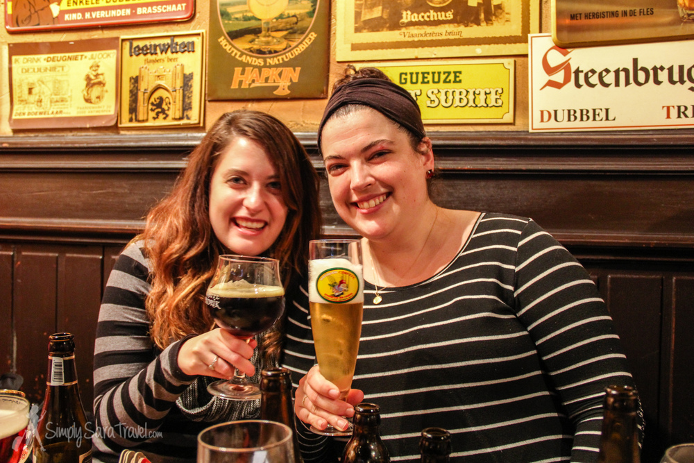 I don't have a picture of all four of us, so here's half of the sweet couple - me with  Marina ! This evening combined lots of fantastic elements: being in Bruges (one of my favorite little medieval cities), my favorite Belgian beer bar: 't Brugs Beertje, spending time with my hubby and two close friends...and Belgian beer.